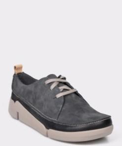 Pantofi CLARKS gri, Tri Clara, din nabuc
