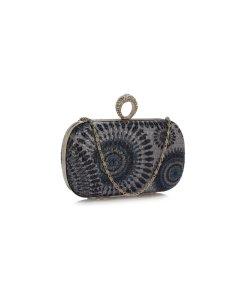 Clutch gri din paiete cu imprimeu tip mandala in nuante de bleumarin