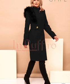 Palton dama Pretty Girl negru cu accesoriu detasabil pe umar din blana ecologica