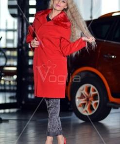 Palton Dama Rosu Cu Blanita Eco