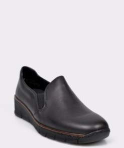 Pantofi RIEKER negri, 53766, din piele naturala