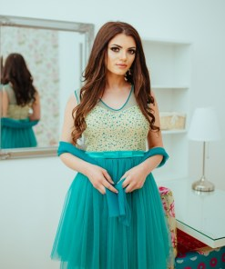 Rochie Baby-Doll Turquoise Si Bust Cu Sclipici