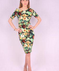 Rochie mulata model floral verde