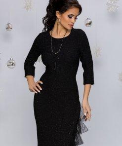 Rochie Sasha neagra cu mini paiete si design cu tull la baza