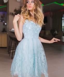 Rochie Scurta Baby-Doll Albastru Pastel