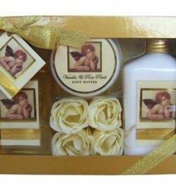 Set cadou, mare, Classic Angel (gel de dus 240 ml, lotiune de corp 240 ml, unt de corp 50 ml si petale de sapun 4 bucati)