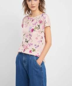 Bluză lejeră cu flori Rózsaszín