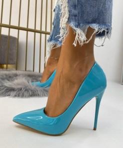 Pantofi Stiletto Dama Piele Ecologica Turcoaz Cora B6720