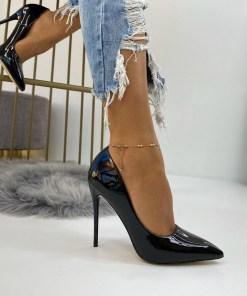 Pantofi Stiletto Dama Piele Ecologica Negri Cora B6722