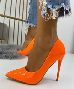 Pantofi Stiletto Dama Piele Ecologica Portocalii Dalia B6802