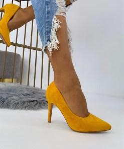 Pantofi Stiletto Dama Piele Ecologica Intoarsa Galbeni Arana B6898