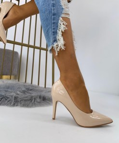 Pantofi Stiletto Dama Piele Ecologica Lacuita Bej Arana3 B6903