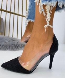 Pantofi Stiletto Dama Glitter Negri C-Thru B6904