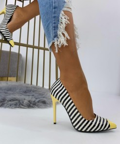 Pantofi Stiletto Dama Piele Ecologica Galbeni Rania B6920