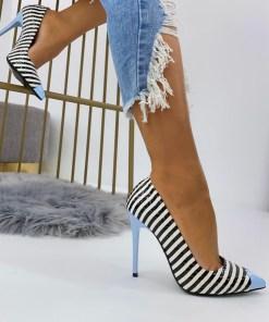 Pantofi Stiletto Dama Piele Ecologica Albastri Rania B6921