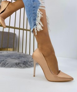 Pantofi Stiletto Dama Piele Ecologica Roz Rose B6923