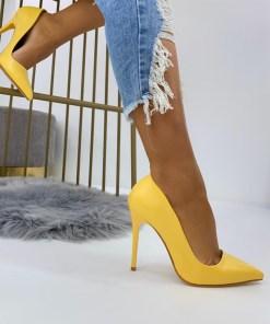 Pantofi Stiletto Dama Piele Ecologica Galbeni Luisa B6925