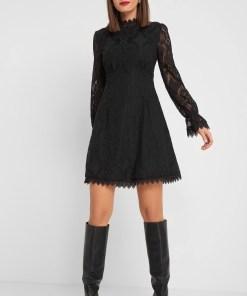 Rochie din dantelă cu guler Negru