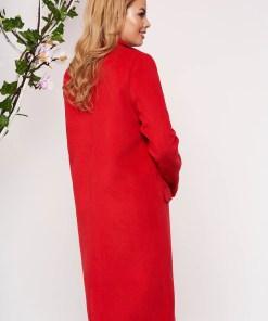 Trench SunShine rosu elegant lung din lana cu un croi drept cu buzunare false captusit pe interior