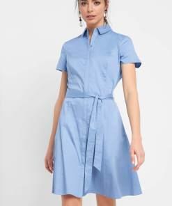 Rochie tip cămașă cu cordon Albastru