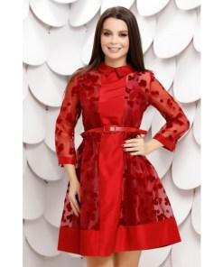 Rochie Carmenta rosie din tull sidefat cu buline de catifea
