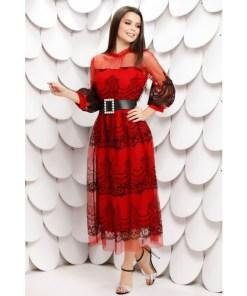 Rochie Zaria rosie din tull brodat si insertii de catifea cu maneci bufante