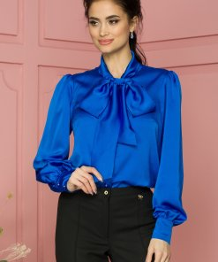 Camasa LaDonna albastra cu guler tip esarfa