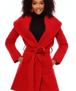 Palton stofa rosu cu guler sal Plt 1121