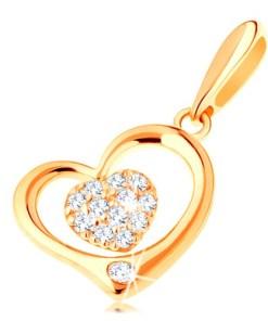 Pandantiv din aur 585 - contur inima lucioasa cu inima mica din zirconiu