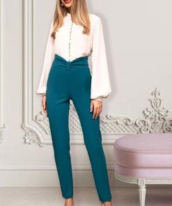 Pantaloni Pretty Girl office turcoaz cu talie inalta