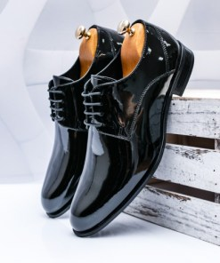 Pantofi barbati Piele negri luciosi Canino-rl