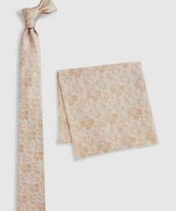 Set de cravata din matase si batista cu model floral