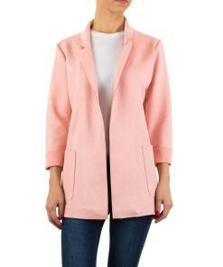 Sacou modern, de culoare roz, cu buzunare