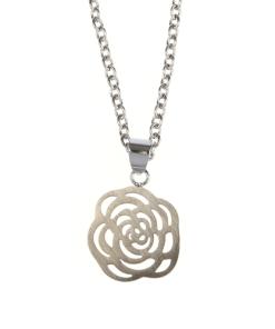 Colier argintiu, pandantiv trandafir