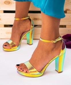 Sandale cu Toc Piele Ecologica Color Araceli B7391