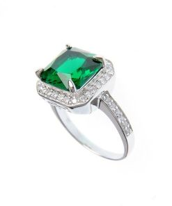 Inel argint cu piatra patrata verde