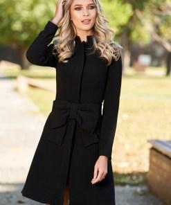 Palton Artista negru elegant in clos captusit pe interior accesorizat cu cordon cu fundita