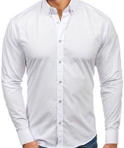 Cămașă elegantă cu mâneca lungă pentru bărbat albă Bolf 5821-1