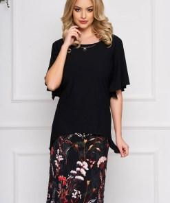 Rochie neagra eleganta midi cu un croi drept din stofa cu broderie florala