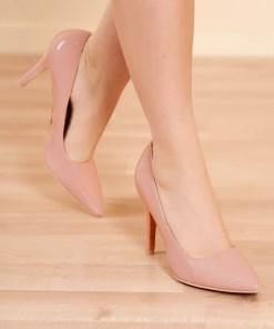 Pantofi roz prafuit elegant din piele ecologica lacuita cu varful usor ascutit si toc inalt