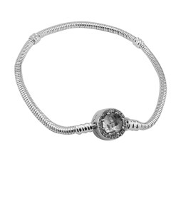 Bratara argint charm cu inchizatoare rotunda cu zirconii, marime 17 cm