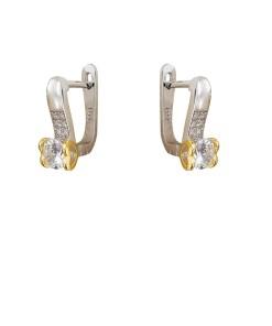 Cercei argint Iris cu zirconii albe