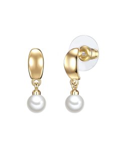 Cercei cu tija decorati cu perle organice alb aurii