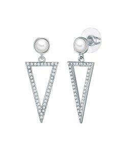 Cercei drop decorati cu perle organice si zirconia