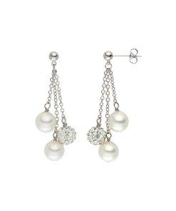 Cercei drop cu zirconia si perle organice lungi
