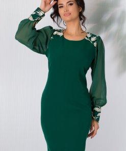 Rochie Oriana verde cu maneci din voal si broderie alba cu fir auriu stralucitor