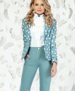 Sacou Pretty Girl turquoise pudrat cu buline albe