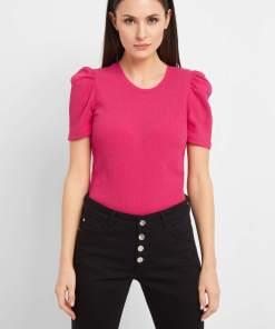 Tricou cu mâneci ușor bufante Rózsaszín