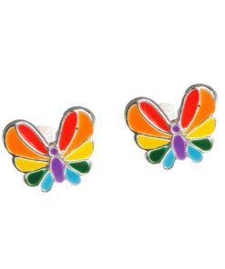 Cercei argint, fluturasi multicolori