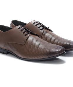 Pantofi barbati din piele naturala Garry cu perforatii Gri